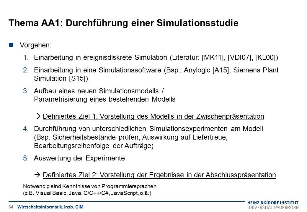 Wirtschaftsinformatik, insb. CIM34 Vorgehen: 1.Einarbeitung in ereignisdiskrete Simulation (Literatur: [MK11], [VDI07], [KL00]) 2.Einarbeitung in eine