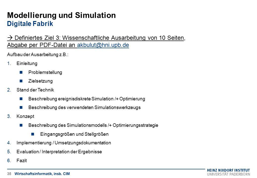 Wirtschaftsinformatik, insb. CIM35  Definiertes Ziel 3: Wissenschaftliche Ausarbeitung von 10 Seiten, Abgabe per PDF-Datei an akbulut@hni.upb.deakbul