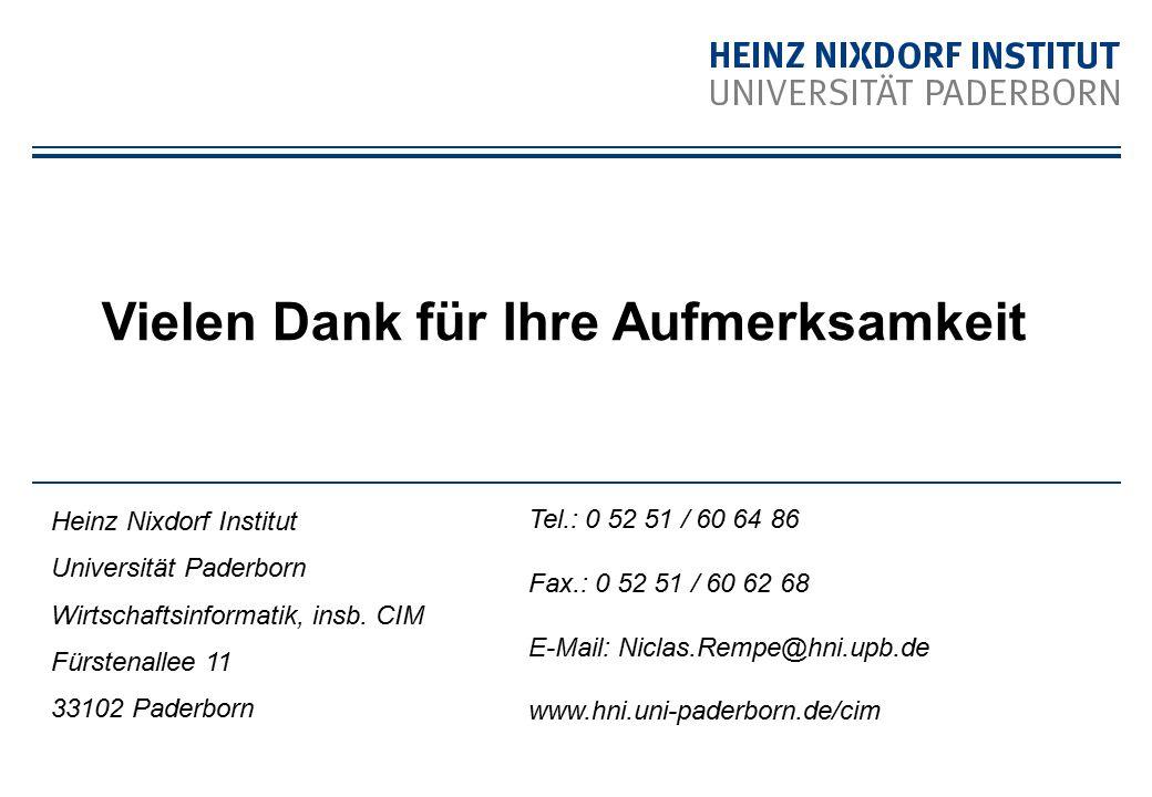 Heinz Nixdorf Institut Universität Paderborn Wirtschaftsinformatik, insb. CIM Fürstenallee 11 33102 Paderborn Vielen Dank für Ihre Aufmerksamkeit Tel.