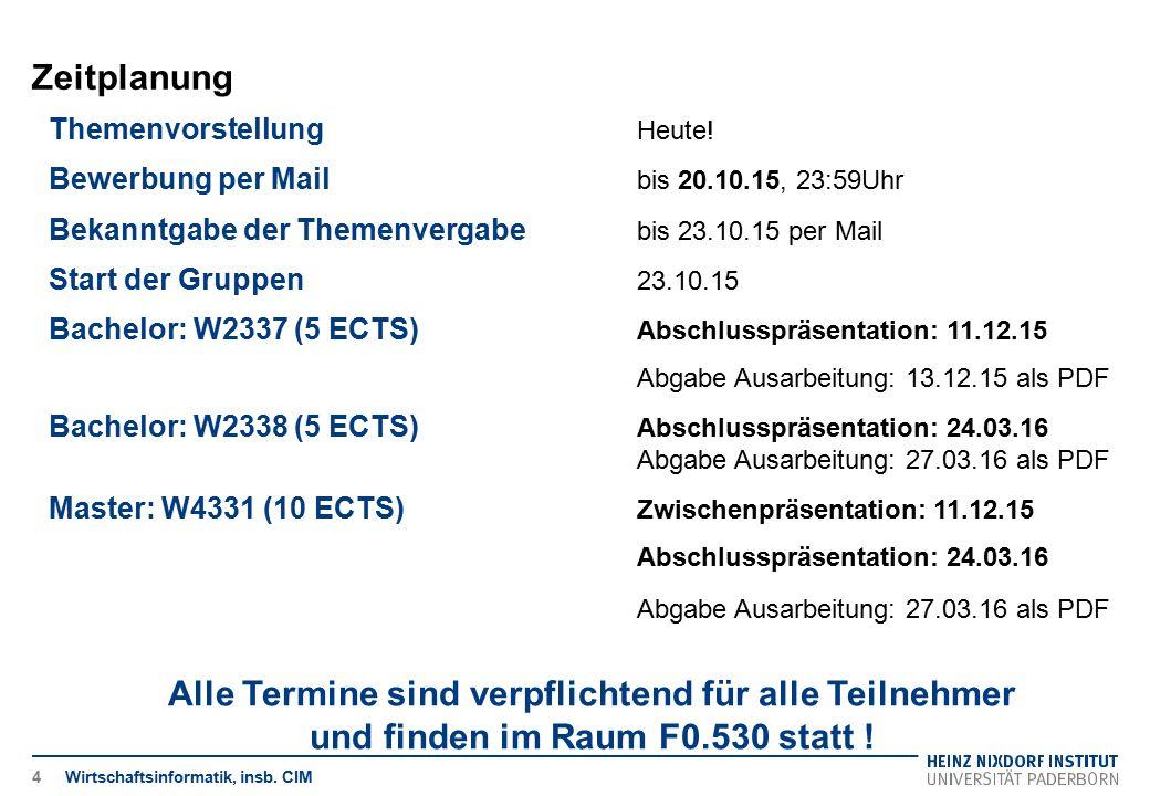 Zeitplanung Wirtschaftsinformatik, insb. CIM4 Themenvorstellung Heute! Bewerbung per Mail bis 20.10.15, 23:59Uhr Bekanntgabe der Themenvergabe bis 23.