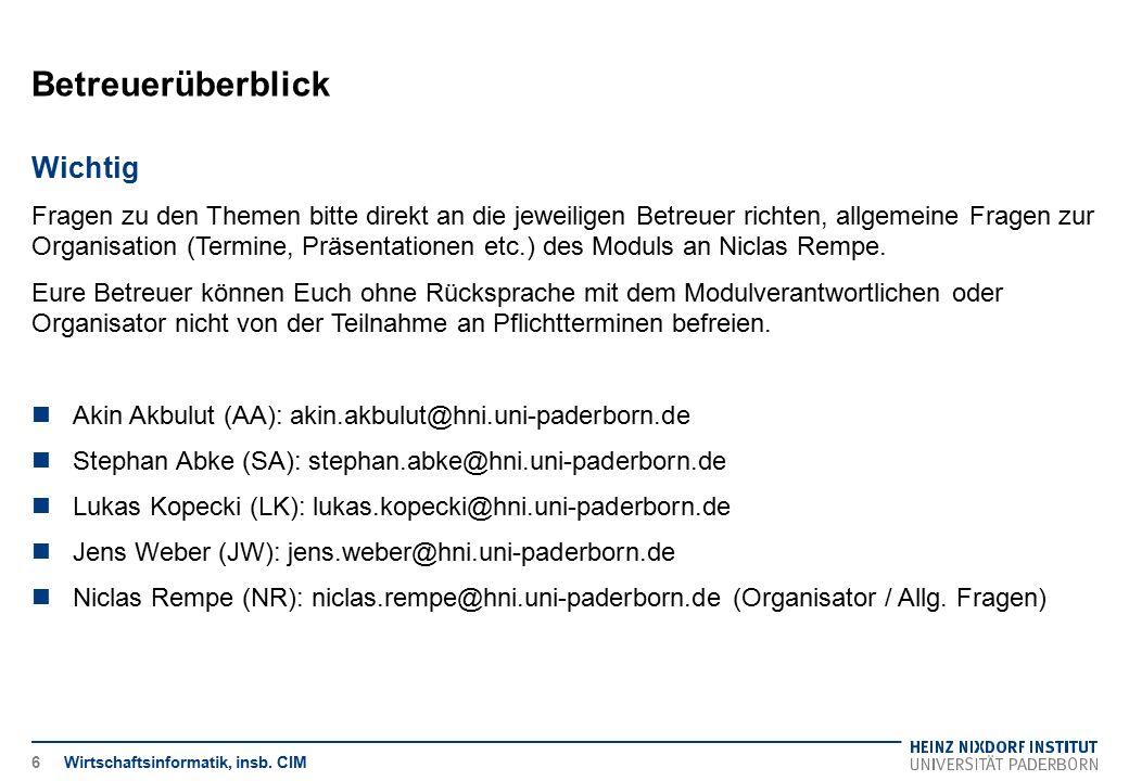 Heinz Nixdorf Institut Universität Paderborn Wirtschaftsinformatik, insb.