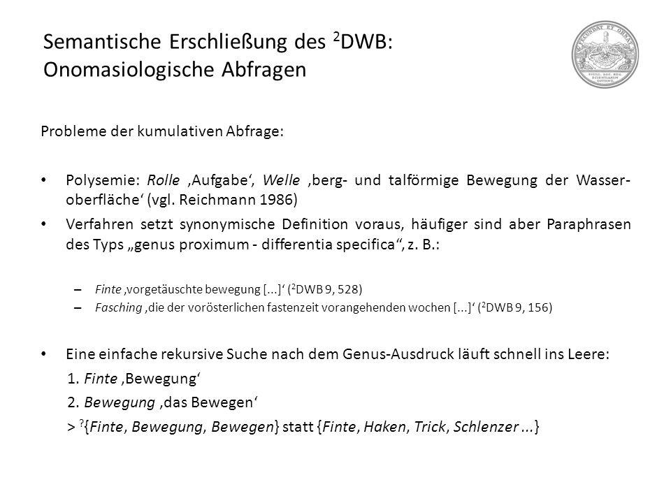 Semantische Erschließung des 2 DWB: Onomasiologische Abfragen Probleme der kumulativen Abfrage: Polysemie: Rolle 'Aufgabe', Welle 'berg- und talförmig