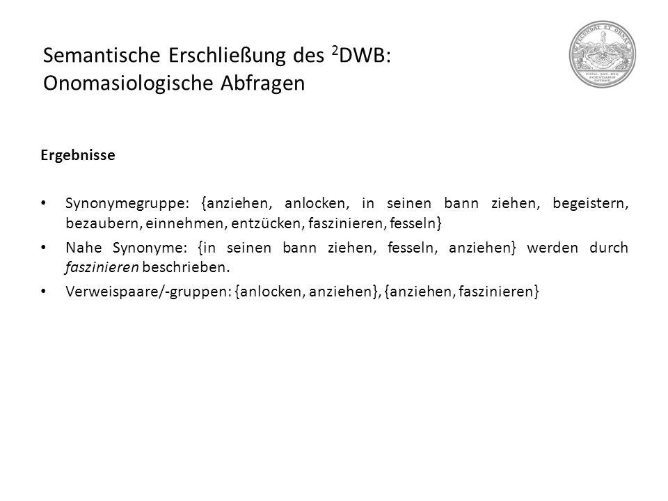 Semantische Erschließung des 2 DWB: Onomasiologische Abfragen Ergebnisse Synonymegruppe: {anziehen, anlocken, in seinen bann ziehen, begeistern, bezau