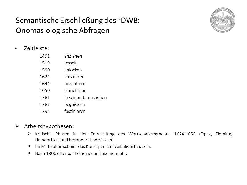 Semantische Erschließung des 2 DWB: Onomasiologische Abfragen Zeitleiste: 1491anziehen 1519fesseln 1590anlocken 1624entzücken 1644bezaubern 1650einneh