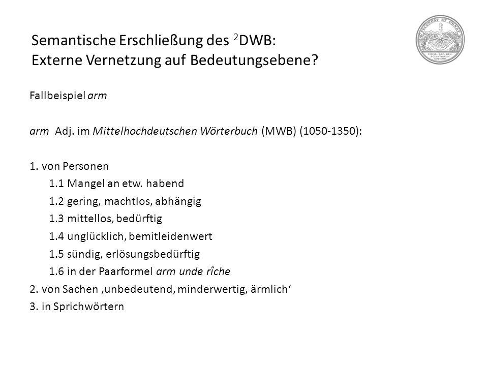 """Semantische Erschließung des 2 DWB: Onomasiologische Abfragen Mögliche Lösungen: Man müsste nach semantischen Merkmalen suchen, die Synonymie ja letztlich konstituieren Im Fall von Finte 1 könnte man das relevante semantische Merkmal über eine Suche nach der Wurzel """"täusch- als Teil von Beschreibungsparaphrasen ermitteln (täuschend, Vortäuschung, zur Täuschung)."""
