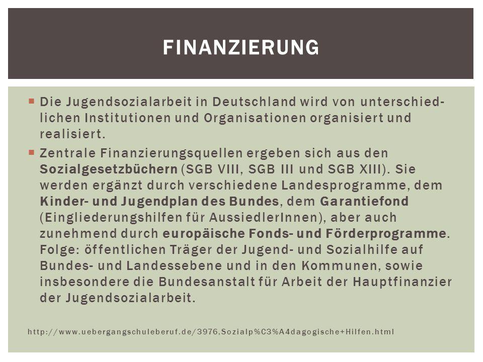 Die Jugendsozialarbeit in Deutschland wird von unterschied- lichen Institutionen und Organisationen organisiert und realisiert.  Zentrale Finanzier