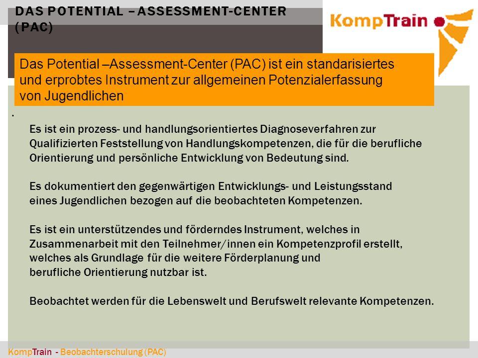 KompTrain - Beobachterschulung (PAC) DAS POTENTIAL –ASSESSMENT-CENTER (PAC). Das Potential –Assessment-Center (PAC) ist ein standarisiertes und erprob