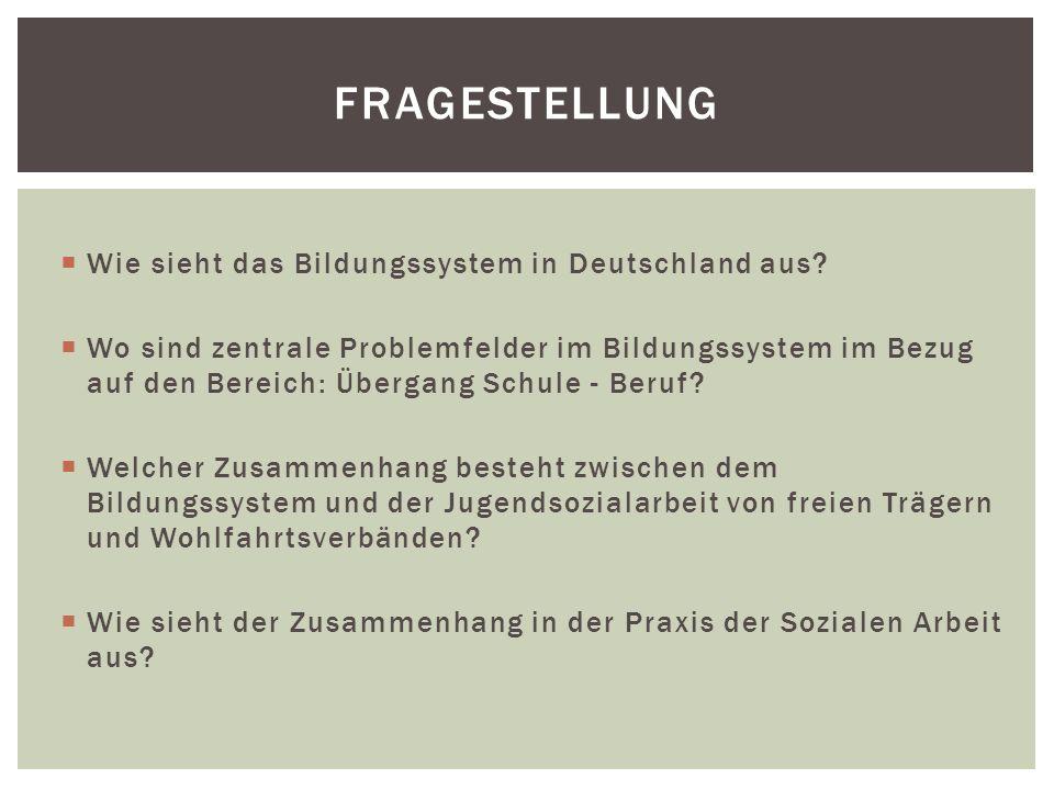  Wie sieht das Bildungssystem in Deutschland aus?  Wo sind zentrale Problemfelder im Bildungssystem im Bezug auf den Bereich: Übergang Schule - Beru