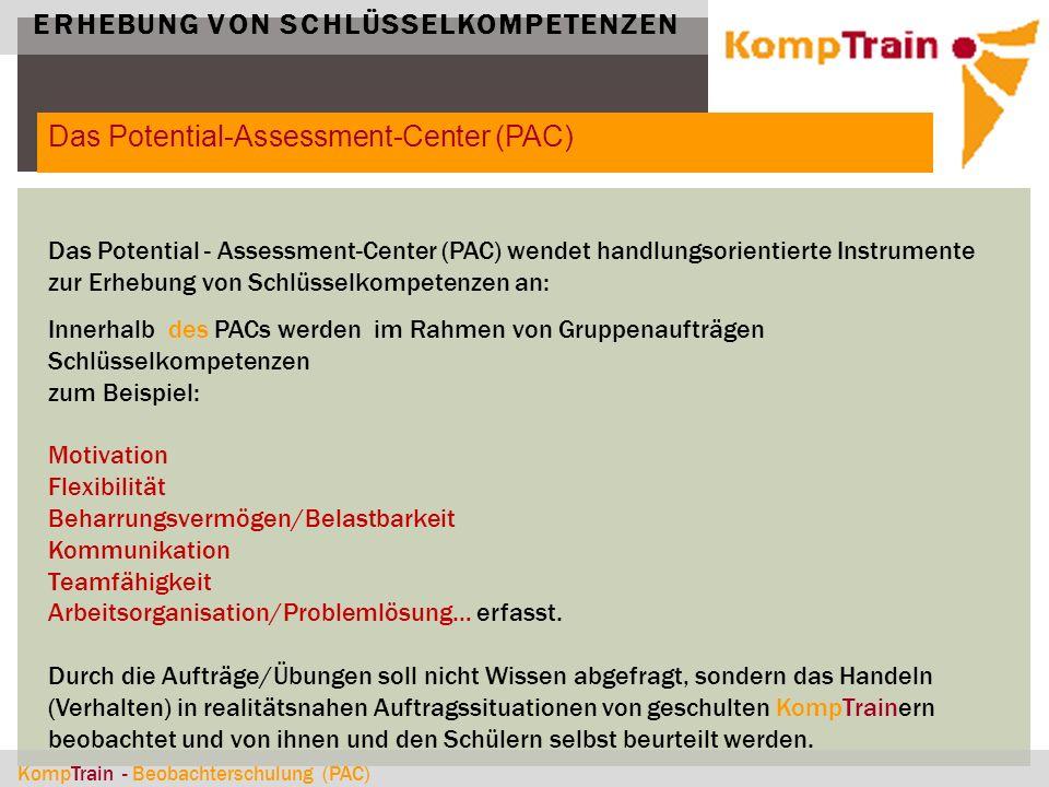 KompTrain - Beobachterschulung (PAC) ERHEBUNG VON SCHLÜSSELKOMPETENZEN Das Potential - Assessment-Center (PAC) wendet handlungsorientierte Instrumente