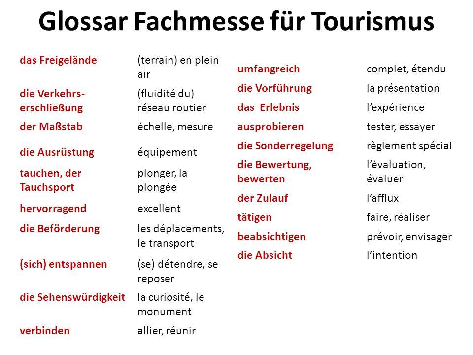 Glossar Fachmesse für Tourismus das Freigelände(terrain) en plein air die Verkehrs- erschließung (fluidité du) réseau routier der Maßstabéchelle, mesu