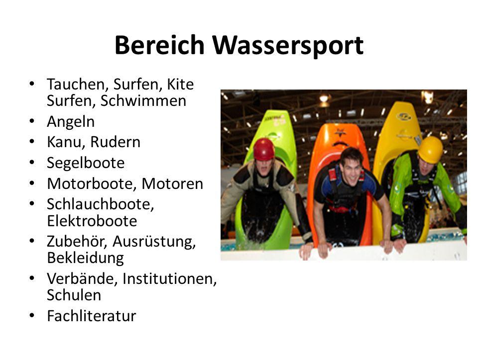Bereich Wassersport Tauchen, Surfen, Kite Surfen, Schwimmen Angeln Kanu, Rudern Segelboote Motorboote, Motoren Schlauchboote, Elektroboote Zubehör, Ausrüstung, Bekleidung Verbände, Institutionen, Schulen Fachliteratur
