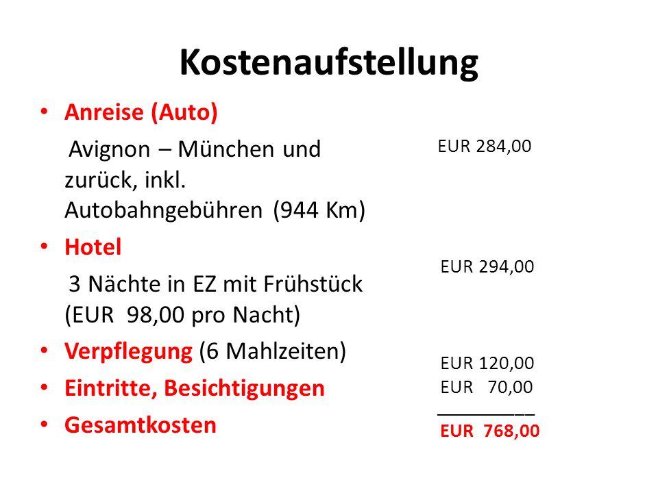 Kostenaufstellung Anreise (Auto) Avignon – München und zurück, inkl.