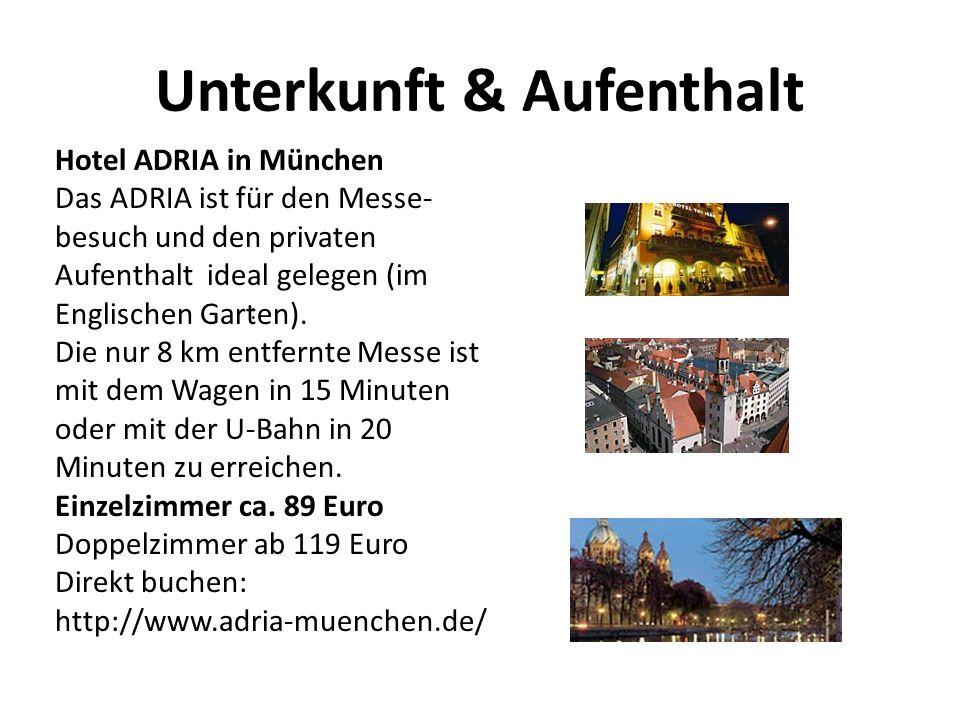 Unterkunft & Aufenthalt Hotel ADRIA in München Das ADRIA ist für den Messe- besuch und den privaten Aufenthalt ideal gelegen (im Englischen Garten).