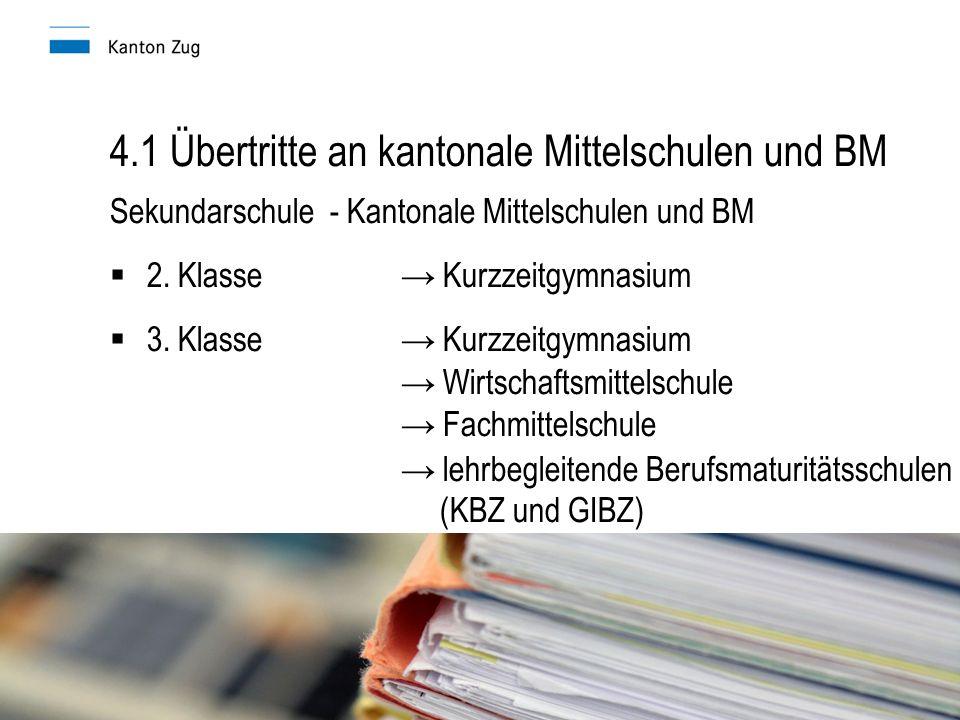 4.1 Übertritte an kantonale Mittelschulen und BM Sekundarschule - Kantonale Mittelschulen und BM  2.