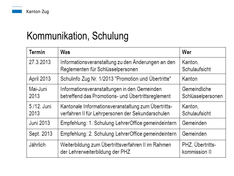 Kommunikation, Schulung TerminWasWer 27.3.2013Informationsveranstaltung zu den Änderungen an den Reglementen für Schlüsselpersonen Kanton, Schulaufsicht April 2013Schulinfo Zug Nr.