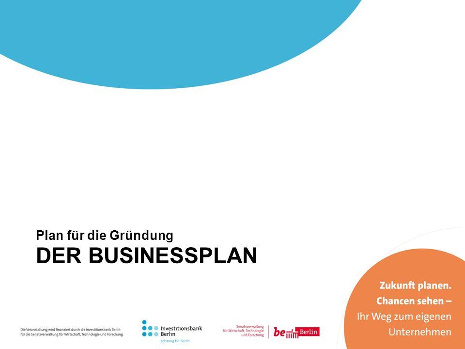 Plan für die Gründung DER BUSINESSPLAN