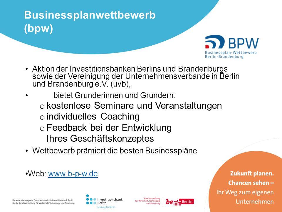Aktion der Investitionsbanken Berlins und Brandenburgs sowie der Vereinigung der Unternehmensverbände in Berlin und Brandenburg e.V. (uvb), bietet Grü