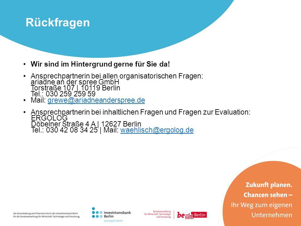 Rückfragen Wir sind im Hintergrund gerne für Sie da! Ansprechpartnerin bei allen organisatorischen Fragen: ariadne an der spree GmbH Torstraße 107 | 1