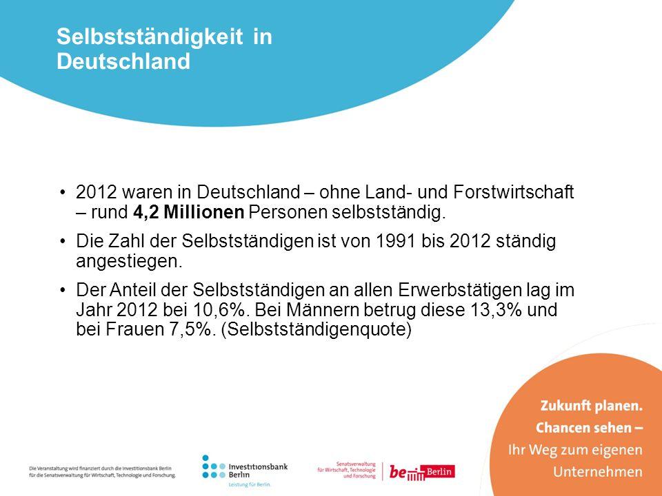 Selbstständigkeit in Deutschland 2012 waren in Deutschland – ohne Land- und Forstwirtschaft – rund 4,2 Millionen Personen selbstständig. Die Zahl der