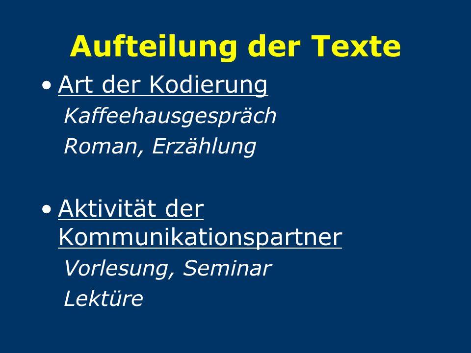 Aufteilung der Texte Art der Kodierung Kaffeehausgespräch Roman, Erzählung Aktivität der Kommunikationspartner Vorlesung, Seminar Lektüre