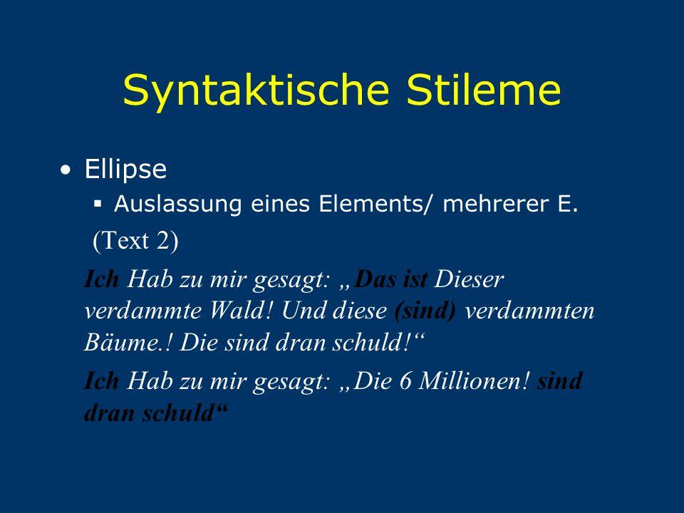 """Syntaktische Stileme Ellipse  Auslassung eines Elements/ mehrerer E. (Text 2) Ich Hab zu mir gesagt: """"Das ist Dieser verdammte Wald! Und diese (sind)"""
