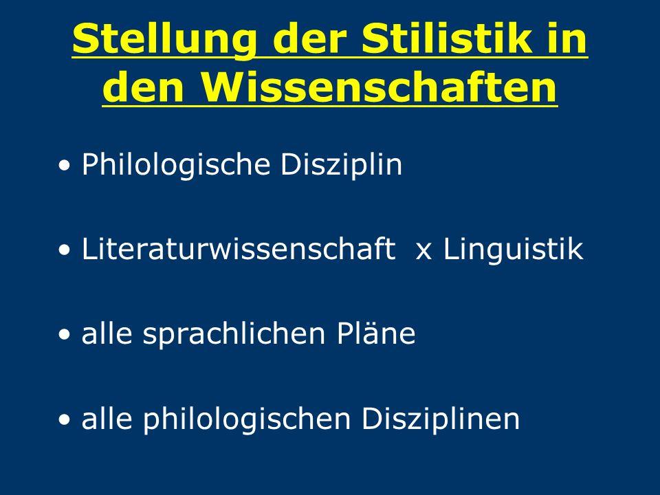 Stellung der Stilistik in den Wissenschaften Philologische Disziplin Literaturwissenschaft x Linguistik alle sprachlichen Pläne alle philologischen Di