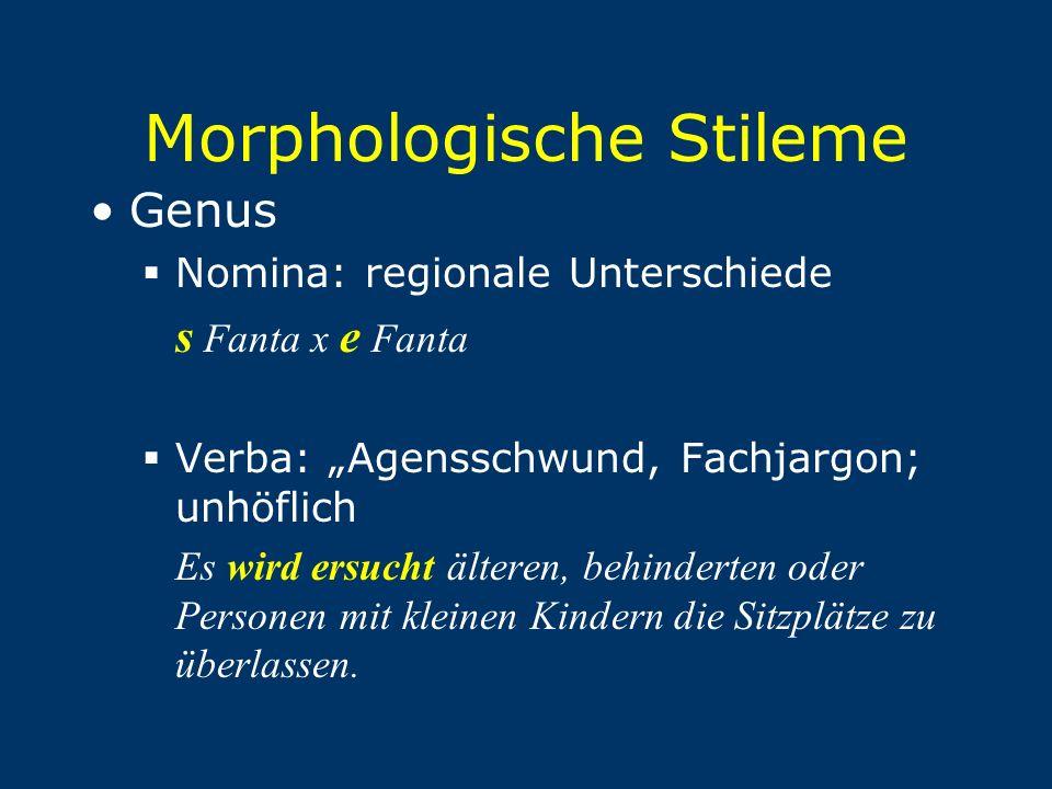 """Morphologische Stileme Genus  Nomina: regionale Unterschiede s Fanta x e Fanta  Verba: """"Agensschwund, Fachjargon; unhöflich Es wird ersucht älteren,"""