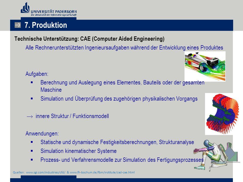 Technische Unterstützung: CAE (Computer Aided Engineering) Alle Rechnerunterstützten Ingenieursaufgaben während der Entwicklung eines Produktes Aufgab