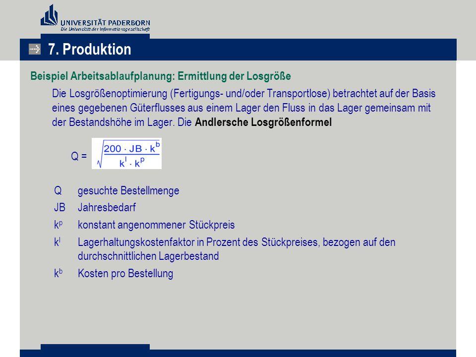 Beispiel Arbeitsablaufplanung: Ermittlung der Losgröße Die Losgrößenoptimierung (Fertigungs- und/oder Transportlose) betrachtet auf der Basis eines ge