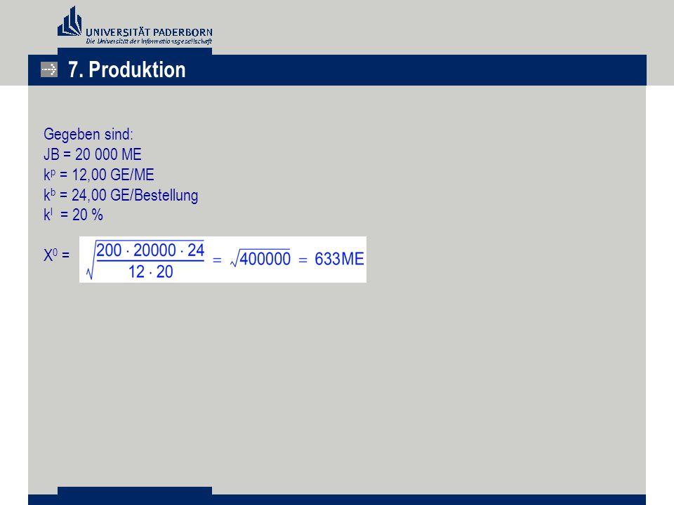 Gegeben sind: JB = 20 000 ME k p = 12,00 GE/ME k b = 24,00 GE/Bestellung k l = 20 % X 0 = 7. Produktion