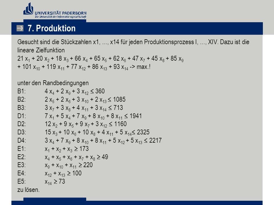 Gesucht sind die Stückzahlen x1,..., x14 für jeden Produktionsprozess I,..., XIV. Dazu ist die lineare Zielfunktion 21 x 1 + 20 x 2 + 18 x 3 + 66 x 4