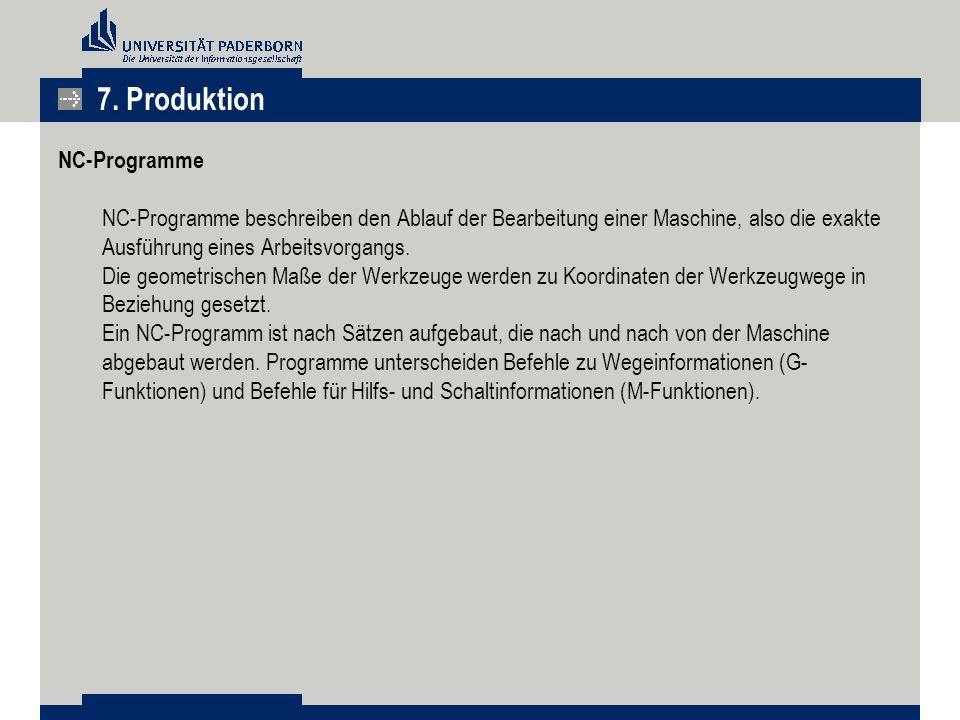 NC-Programme NC-Programme beschreiben den Ablauf der Bearbeitung einer Maschine, also die exakte Ausführung eines Arbeitsvorgangs. Die geometrischen M