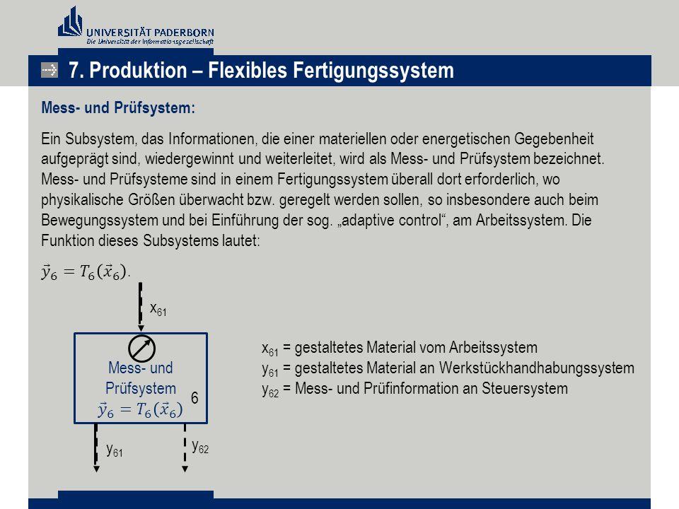 7. Produktion – Flexibles Fertigungssystem x 61 x 61 =gestaltetes Material vom Arbeitssystem y 61 =gestaltetes Material an Werkstückhandhabungssystem