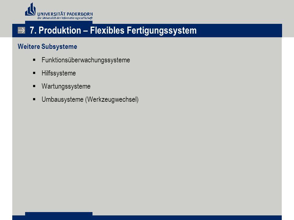 Weitere Subsysteme  Funktionsüberwachungssysteme  Hilfssysteme  Wartungssysteme  Umbausysteme (Werkzeugwechsel) 7. Produktion – Flexibles Fertigun