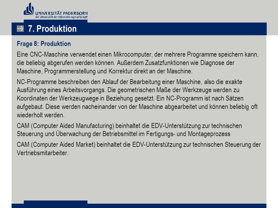 7. Produktion Frage 8: Produktion Eine CNC-Maschine verwendet einen Mikrocomputer, der mehrere Programme speichern kann, die beliebig abgerufen werden