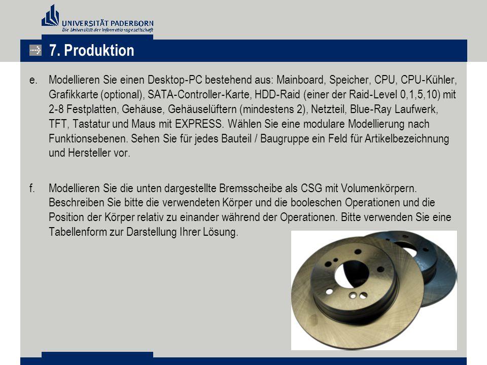 e.Modellieren Sie einen Desktop ‐ PC bestehend aus: Mainboard, Speicher, CPU, CPU ‐ Kühler, Grafikkarte (optional), SATA ‐ Controller ‐ Karte, HDD ‐ R