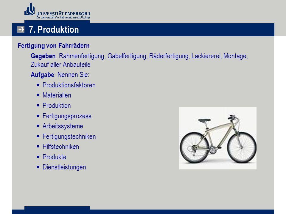 Fertigung von Fahrrädern Gegeben : Rahmenfertigung, Gabelfertigung, Räderfertigung, Lackiererei, Montage, Zukauf aller Anbauteile Aufgabe : Nennen Sie