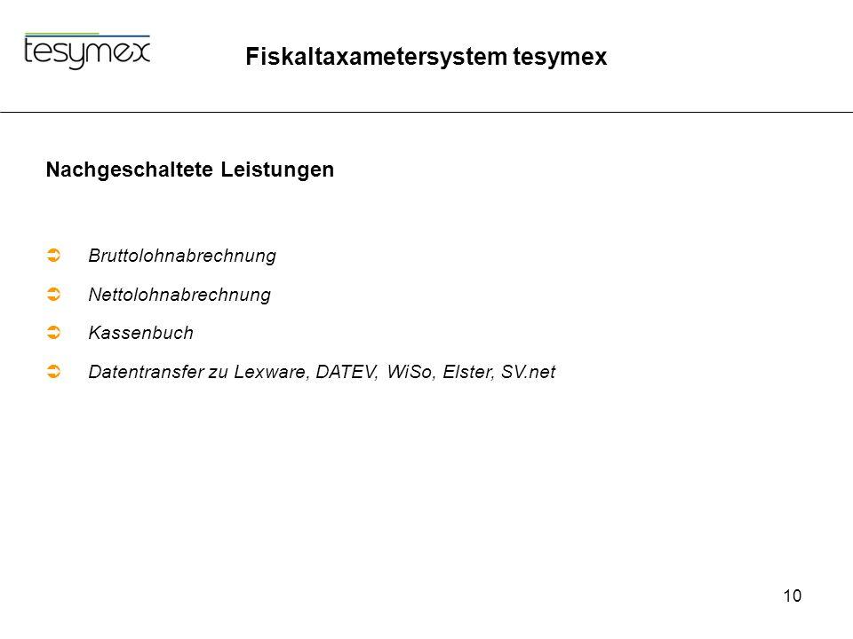 Fiskaltaxametersystem tesymex 10 Nachgeschaltete Leistungen  Bruttolohnabrechnung  Nettolohnabrechnung  Kassenbuch  Datentransfer zu Lexware, DATEV, WiSo, Elster, SV.net