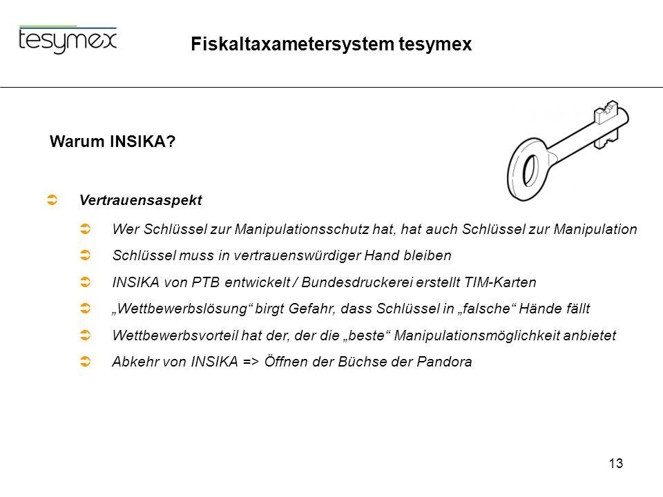 Fiskaltaxametersystem tesymex 13 Warum INSIKA?  Vertrauensaspekt  Wer Schlüssel zur Manipulationsschutz hat, hat auch Schlüssel zur Manipulation  S