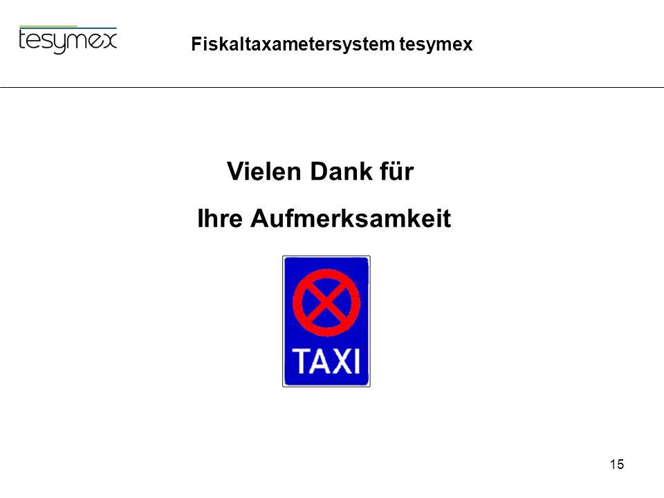Fiskaltaxametersystem tesymex 15 Vielen Dank für Ihre Aufmerksamkeit