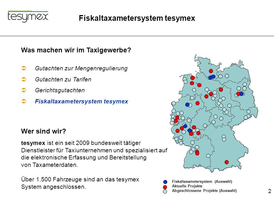 Fiskaltaxametersystem tesymex 2 Was machen wir im Taxigewerbe?  Gutachten zur Mengenregulierung  Gutachten zu Tarifen  Gerichtsgutachten  Fiskalta