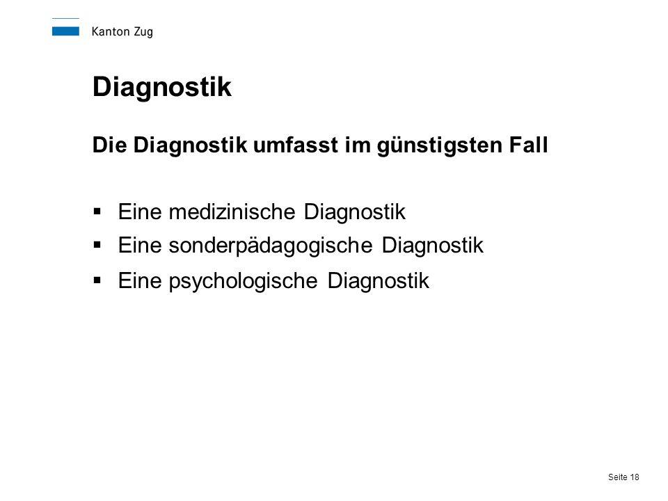 Seite 18 Diagnostik Die Diagnostik umfasst im günstigsten Fall  Eine medizinische Diagnostik  Eine sonderpädagogische Diagnostik  Eine psychologisc