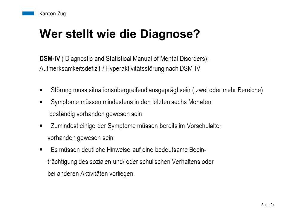 Seite 24 Wer stellt wie die Diagnose? DSM-IV ( Diagnostic and Statistical Manual of Mental Disorders); Aufmerksamkeitsdefizit-/ Hyperaktivitätsstörung