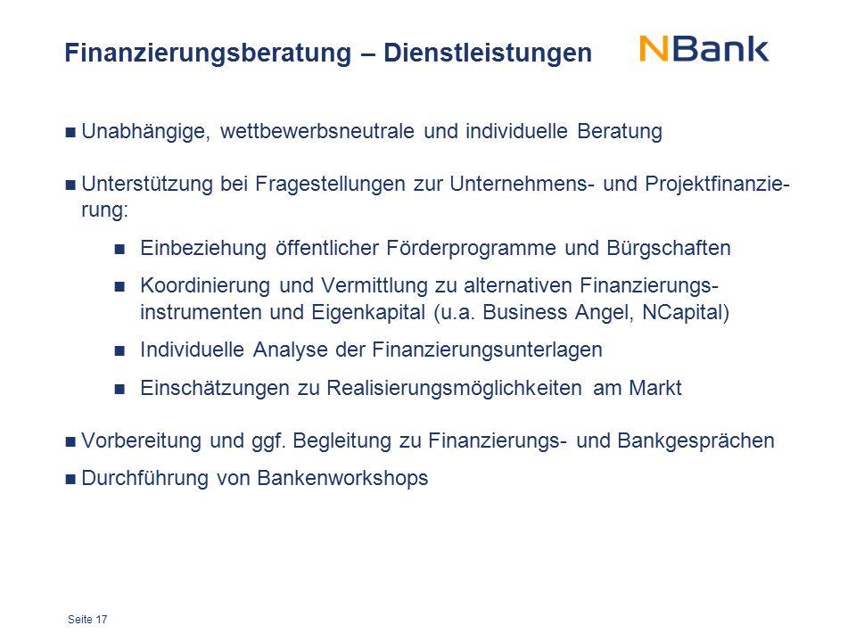 Seite 17 Finanzierungsberatung – Dienstleistungen Unabhängige, wettbewerbsneutrale und individuelle Beratung Unterstützung bei Fragestellungen zur Unt