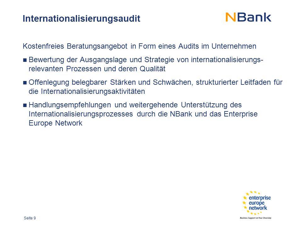 Seite 9 Internationalisierungsaudit Kostenfreies Beratungsangebot in Form eines Audits im Unternehmen Bewertung der Ausgangslage und Strategie von int