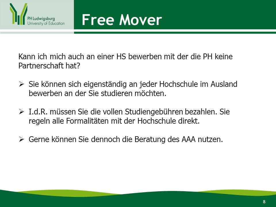 8 Free Mover Kann ich mich auch an einer HS bewerben mit der die PH keine Partnerschaft hat?  Sie können sich eigenständig an jeder Hochschule im Aus