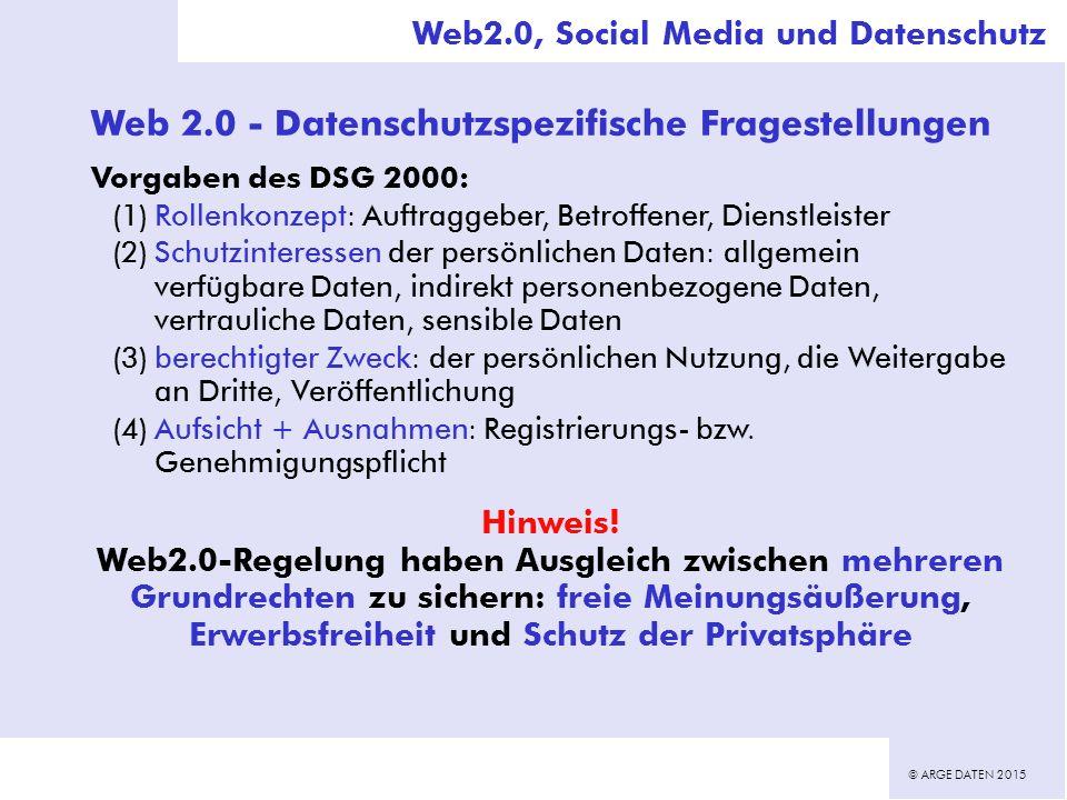 © ARGE DATEN 2015 Web 2.0 - Datenschutzspezifische Fragestellungen Vorgaben des DSG 2000: (1)Rollenkonzept: Auftraggeber, Betroffener, Dienstleister (2)Schutzinteressen der persönlichen Daten: allgemein verfügbare Daten, indirekt personenbezogene Daten, vertrauliche Daten, sensible Daten (3)berechtigter Zweck: der persönlichen Nutzung, die Weitergabe an Dritte, Veröffentlichung (4)Aufsicht + Ausnahmen: Registrierungs- bzw.