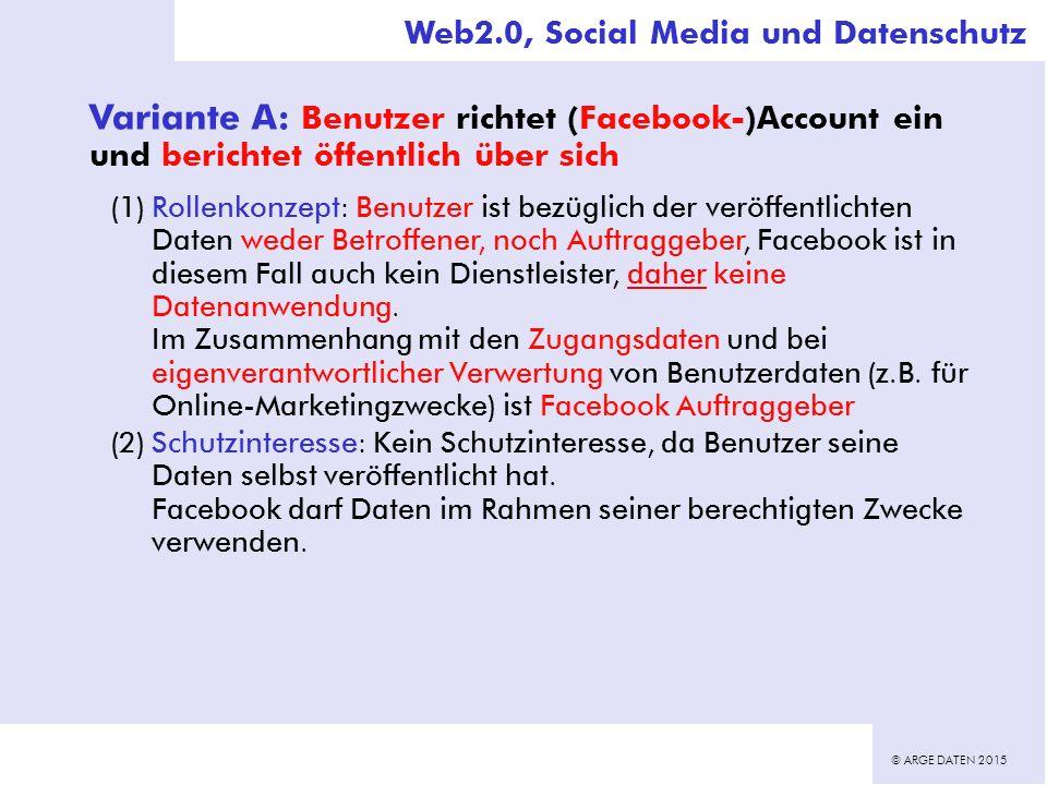 © ARGE DATEN 2015 Variante A: Benutzer richtet (Facebook-)Account ein und berichtet öffentlich über sich (1)Rollenkonzept: Benutzer ist bezüglich der veröffentlichten Daten weder Betroffener, noch Auftraggeber, Facebook ist in diesem Fall auch kein Dienstleister, daher keine Datenanwendung.
