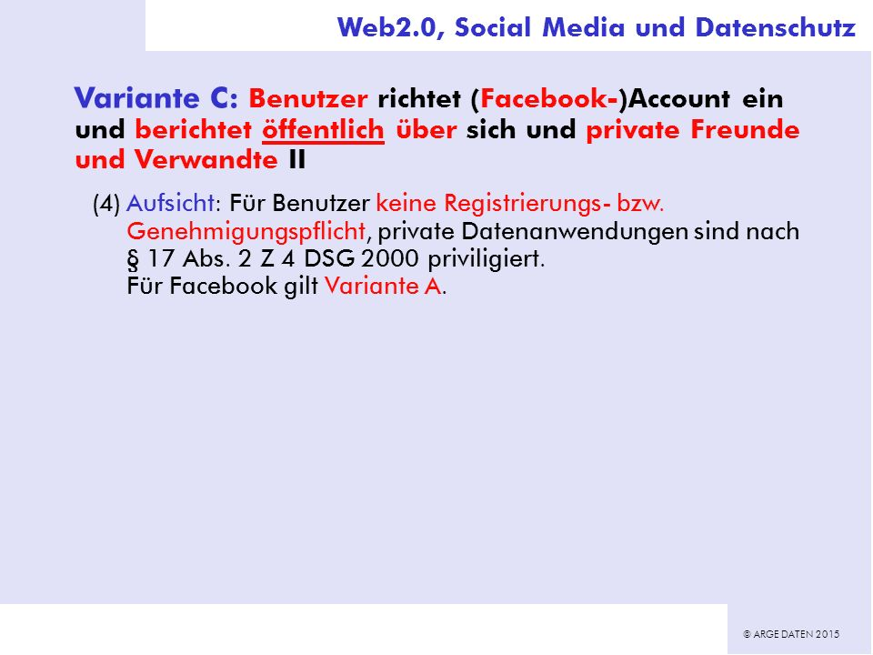 © ARGE DATEN 2015 Variante C: Benutzer richtet (Facebook-)Account ein und berichtet öffentlich über sich und private Freunde und Verwandte II (4)Aufsicht: Für Benutzer keine Registrierungs- bzw.