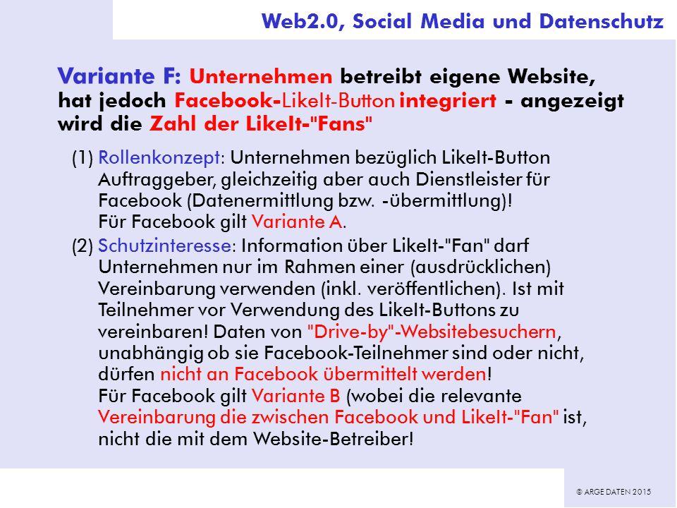 © ARGE DATEN 2015 Variante F: Unternehmen betreibt eigene Website, hat jedoch Facebook-LikeIt-Button integriert - angezeigt wird die Zahl der LikeIt- Fans (1)Rollenkonzept: Unternehmen bezüglich LikeIt-Button Auftraggeber, gleichzeitig aber auch Dienstleister für Facebook (Datenermittlung bzw.